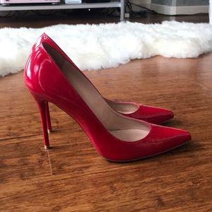 Stuart Weitzman Nouveau Heels in Patent Red